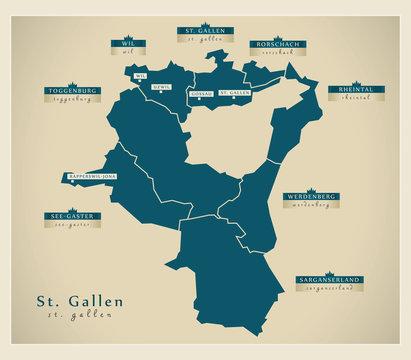 Moderne Landkarte - St. Gallen CH
