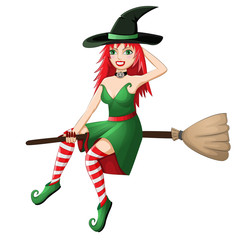 Beautiful red haired witch flying on a broomstick isolated