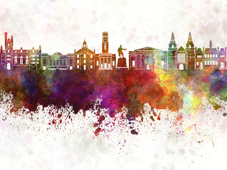 Fotomurales - Aberdeen skyline in watercolor background
