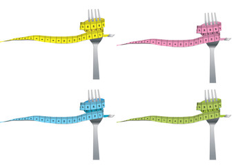 color set of fork and measuring tape for a healthy lifestyle con