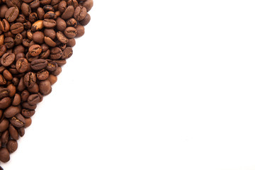 roasted coffee beans with space for advertising text