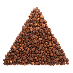 Triangle of roasted coffee beans isolated