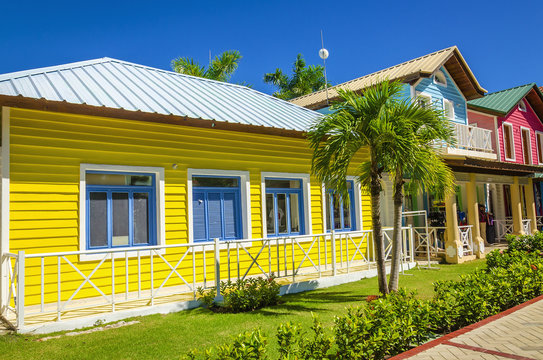 Wooden colored houses typical for Caribbean Islands