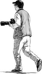 photographer running
