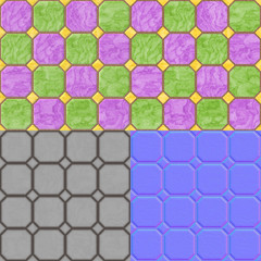 Floor tiles seamless generated texture (with diffuse, bump and n