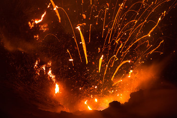 Fond de hotte en verre imprimé Volcan Volcano Yasur Eruption