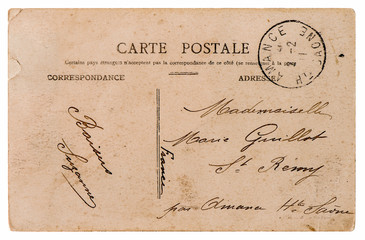 empty antique french postcard. retro style paper background