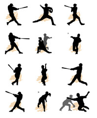 set of baseball silhouette