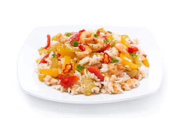 rice with vegetables with shrimp, isolated
