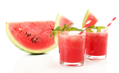 Watermelon cocktail isolated on white