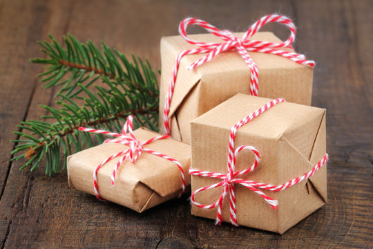 Group of three Christmas presents