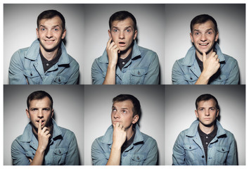Collage of young man with various expressions