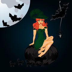 Halloween night background with witch and pumpkin