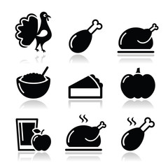 Thanksgiving Day food icons set - turkey, pumpkin pie