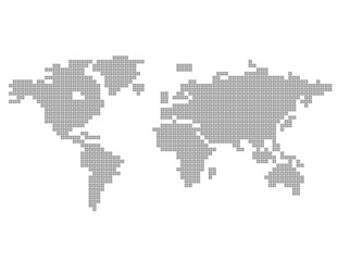 Square Dot Map of the World Gray World