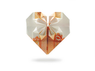 origami heart of five thousand ruble banknote