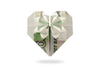origami heart of one thousand ruble banknote