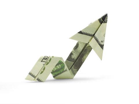origami arrow of hundred dollar banknotes