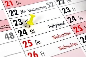 Planung Weihnachten Kalender