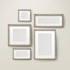 blank wooden frames template set