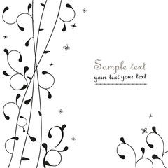 Black simple floral ornamental greeting card