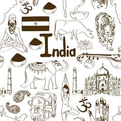 Sketch India seamless pattern