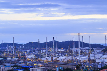 Oil refinery in the twilight