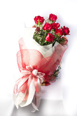 Bouquet of Holland roses on white background