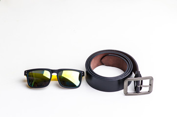 Black leather belt with sport glasses