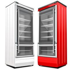 Getrankekühlschrank, weiß und rot, freigestellt