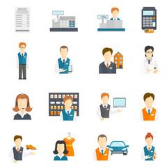 Set icons salesman flat