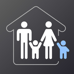 Signet / Grafik Adoptiv- oder Pflegekind mit Familie