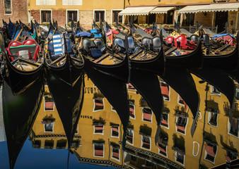 Many parked gondolas  Venice, Italy