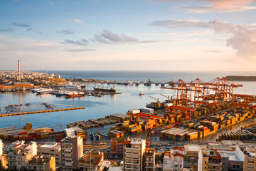 View of container port in Piraeus, Athens.