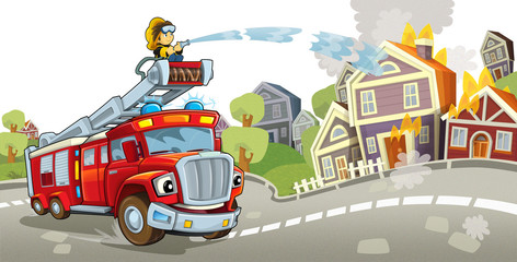 Cartoon fire truck - illustration for the children