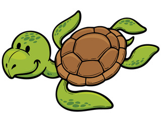 Vector illustration of Cartoon turtle