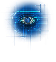 Circuit board- blue eye technology conceptual background