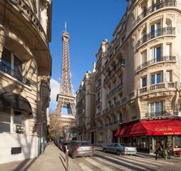 Wall Mural - Paris Straßenszene mit Eiffelturm