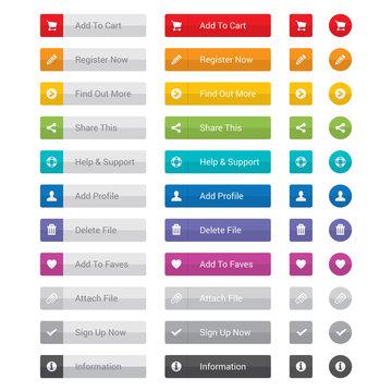 Web button set in various colours.