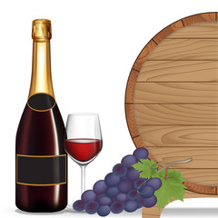 Bottle wine,Grape,Glass wine and wooden barrel ,Vector illustrat