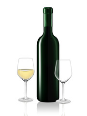 White wine bottle and two wine glass on white