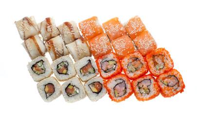 Isolated sushi set on white background