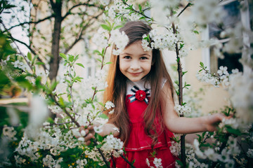 small girl looking through cherry flowers