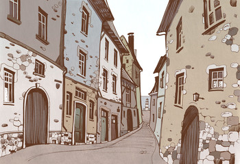 Freehand drawing, showing a narrow European street