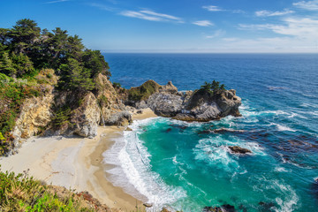 Beach and  Falls, Julia Pfeiffer Beach, McWay Falls, California