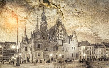 Wrocławski ratusz w stylu retro.