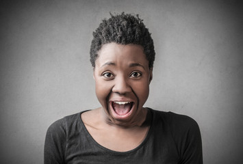 Surprised woman screaming