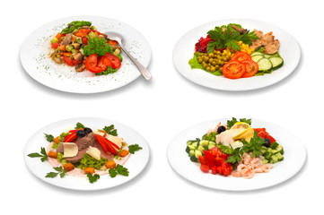 set of salads on white background