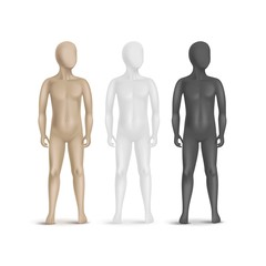 Set of Three Child Mannequins Isolated on White