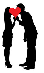 Silhouette Couple Kissing Behind Heart Shape